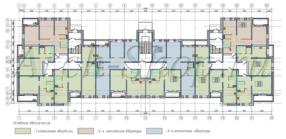 """Проект многоквартирного малоэтажного жилого дома """"Эрида""""-План 1 го этажа на отм. 0.000"""