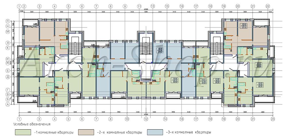 """Проект многоквартирного малоэтажного жилого дома """"Эрида""""-План типового этажа"""