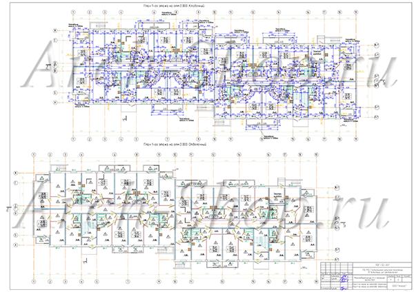 """Типовой проект 3-х этажного многоквартирного дома """"Антарес-2""""- План 1 этажа"""
