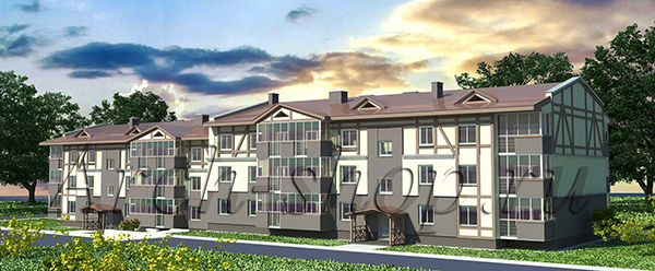 "Типовой проект 3-х этажного многоквартирного дома ""Антарес-2""-Перспектива"
