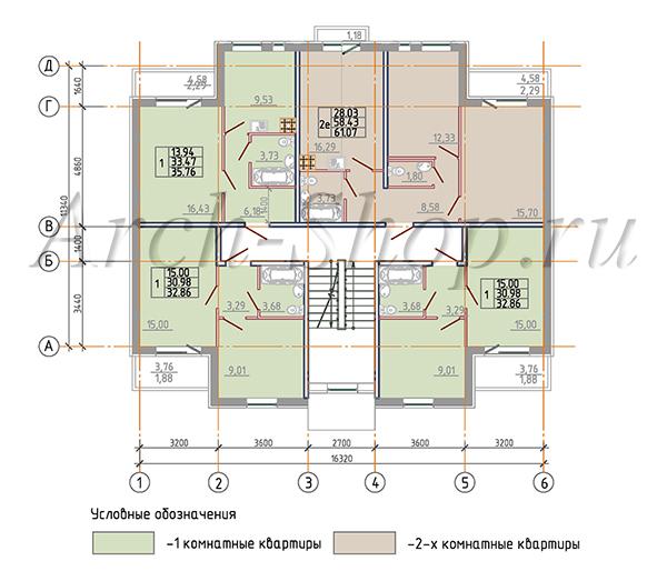 """Проект трехэтажного секционного многоквартирного дома """"Минтака"""""""