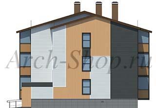 """Проект трехэтажного  многоквартирного дома """"Лабр-Боковой фасад"""