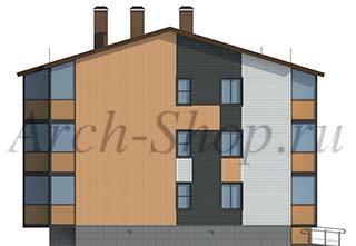 """Проект трехэтажного  многоквартирного дома """"Лабр-Боковой фасад 2"""