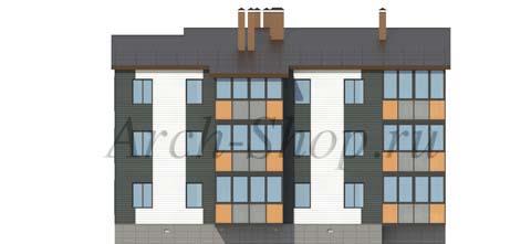 "Проект трехэтажного  многоквартирного дома ""Лабр-Задний фасад"