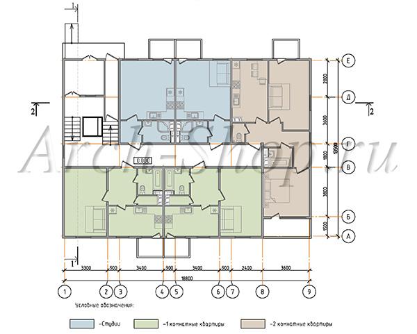 """Проект трехэтажного  многоквартирного дома """"Лабр-План 1 этажа"""