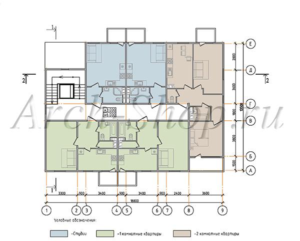 """Проект трехэтажного  многоквартирного дома """"Лабр-План 2-3 этажа"""