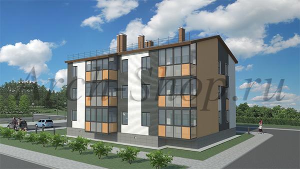 """Проект трехэтажного  многоквартирного дома """"Лабр-Визуализация 2"""