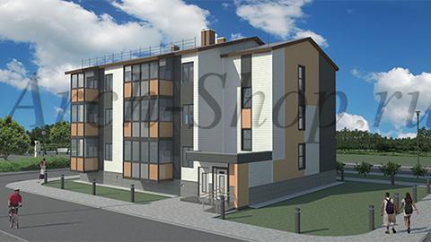 """Проект трехэтажного  многоквартирного дома """"Лабр-Визуализация"""