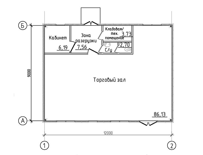 Проект магазина площадью 100 кв. м. -План 1 этажа