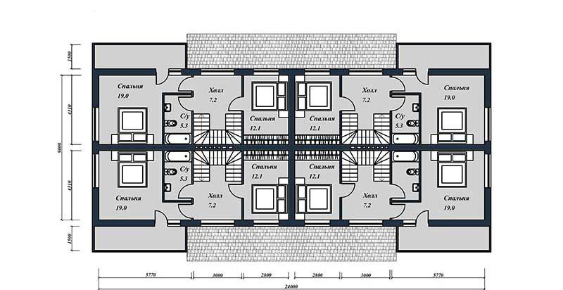Проект таунхауса на 4 квартиры. План