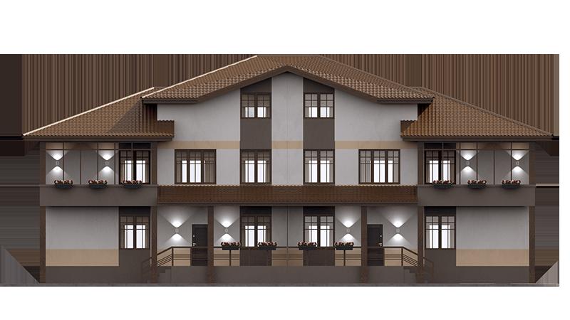 Проект таунхауса на 4 квартиры. Фасад