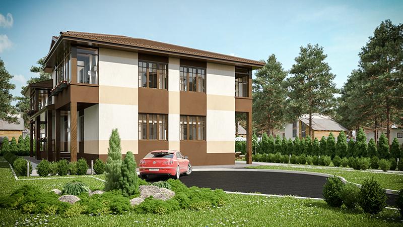 Проект таунхауса на 4 квартиры. Визуализация