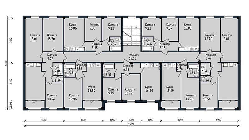 Типовой проект АП-03 4-х этажный многоквартирный дом