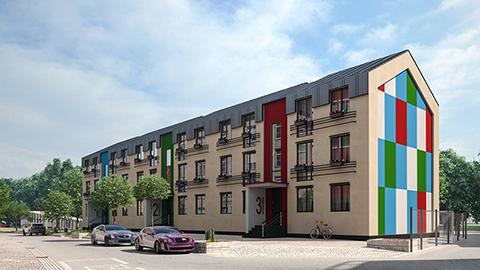 Проект трехэтажного многоквартирного дома. Визуализация
