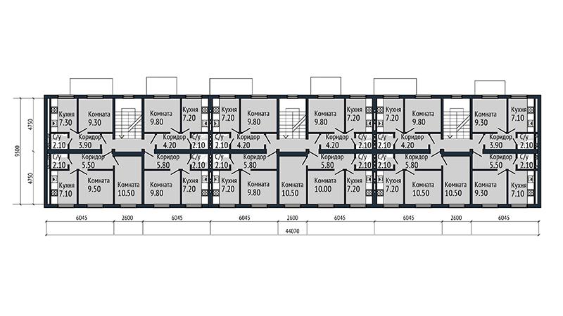 Проект трехэтажного многоквартирного дома.  План