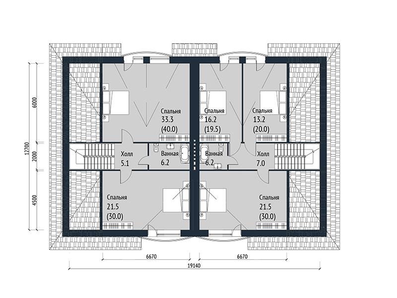 Проект таунхауса на 2 квартиры. План