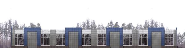 Проект торгового павильона общей площадью 554 м.кв.. Фасад