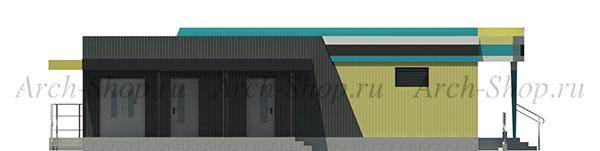 Проект магазина торговой площадью 188 кв.м.-фасад боковой