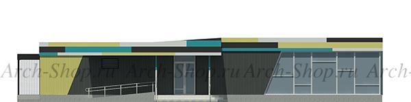 Проект магазина торговой площадью 188 кв.м.-фасад главный
