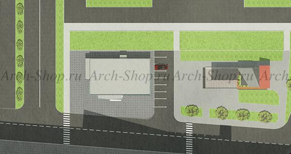 Проект магазина торговой площадью 188 кв.м.-генплан участка