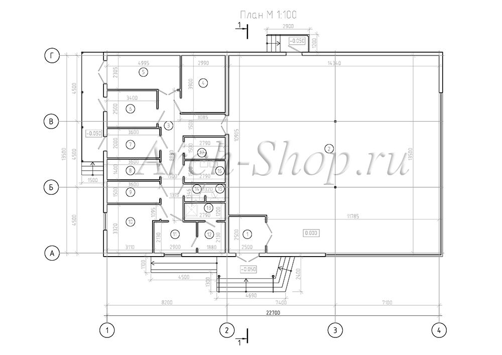 Проект магазина торговой площадью 188 кв.м.-План на отм. 000