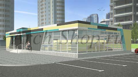 Проект магазина торговой площадью 188 кв.м.Визуализация