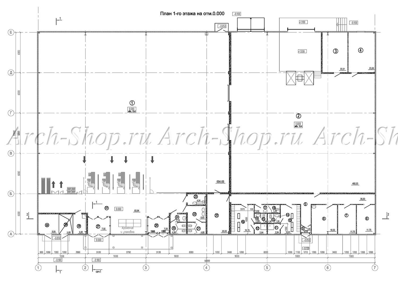 Проект магазина строительных товаров - план 1 этажа