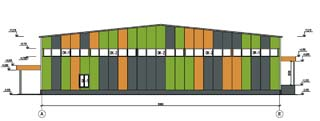 Проект магазина строительных товаров - Боковой фасад