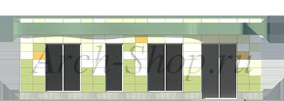 Проект магазина площадью 100 кв. м.-Главный фасад