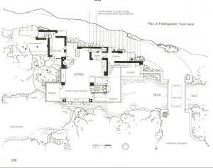 Ф.Л. Райт. Дом над Водопадом. План дома