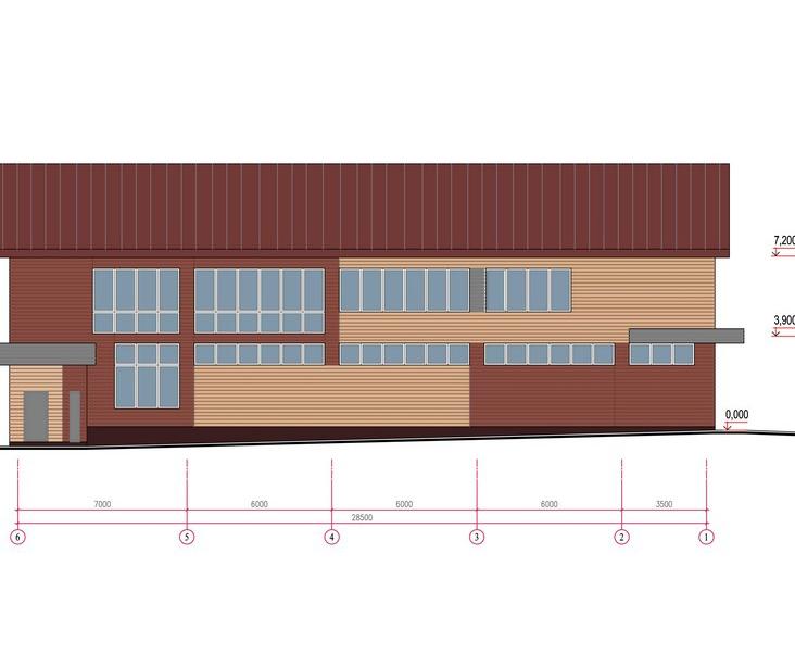 Проект  здания автосервиса с автомойкой и кафе. Фасад