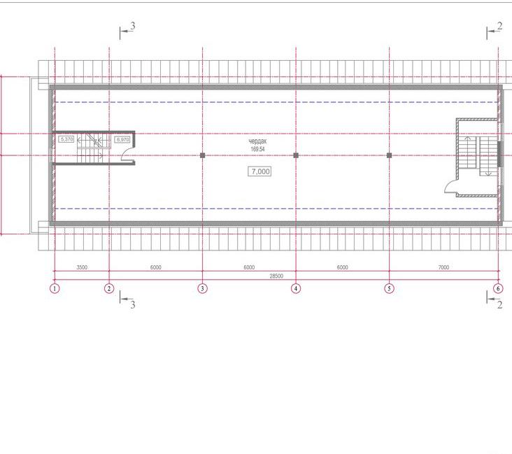 Проект  здания автосервиса с автомойкой и кафе. План чердака
