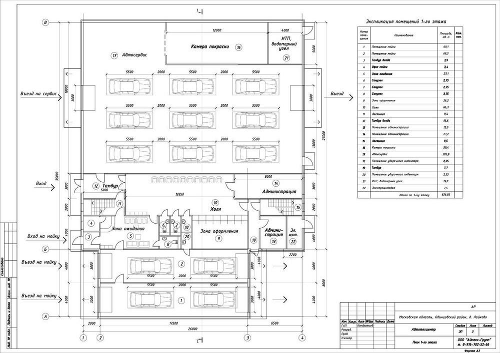 Проект автотехнического комплекса- План 1-го этажа