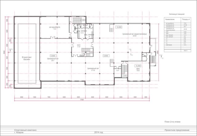 Проект спортивного комплекса. План 2 этажа