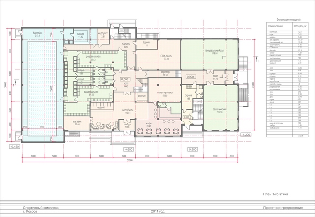Проект спортивного комплекса. План 1 этажа