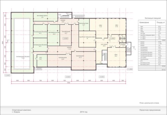 Проект спортивного комплекса. План цокольного этажа