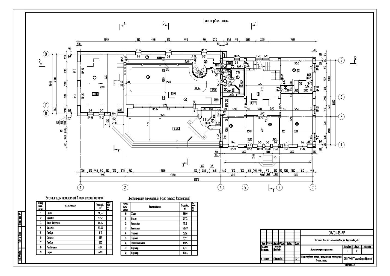 Индивидуальный жилой дом площадью 1000 м2-План 1-го этажа