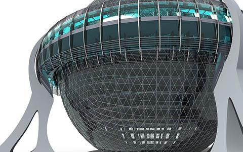 Уникальное Многофункциональное здание сферической формы