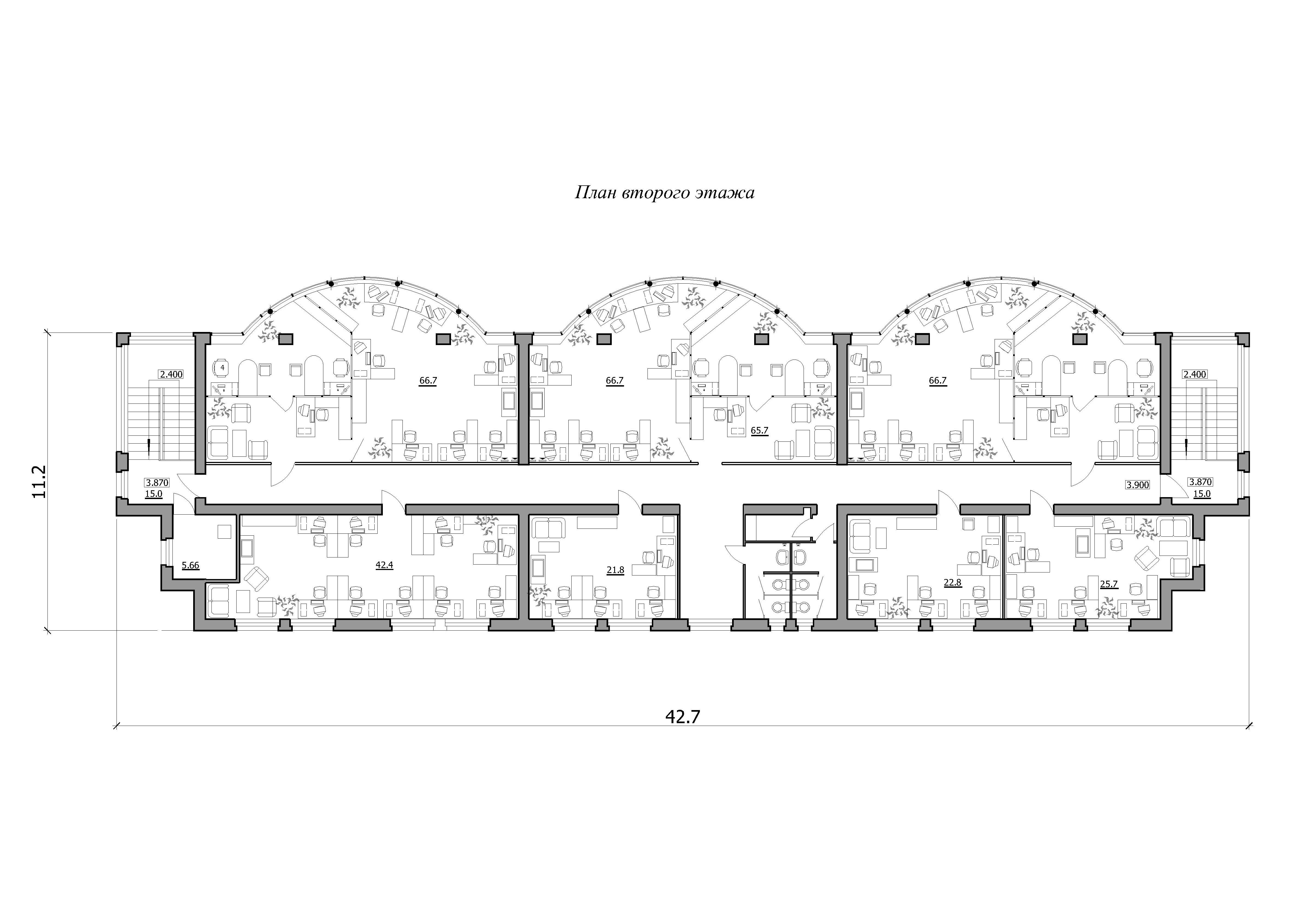 Проект базы оптово-розничной торговли. План второго этажа