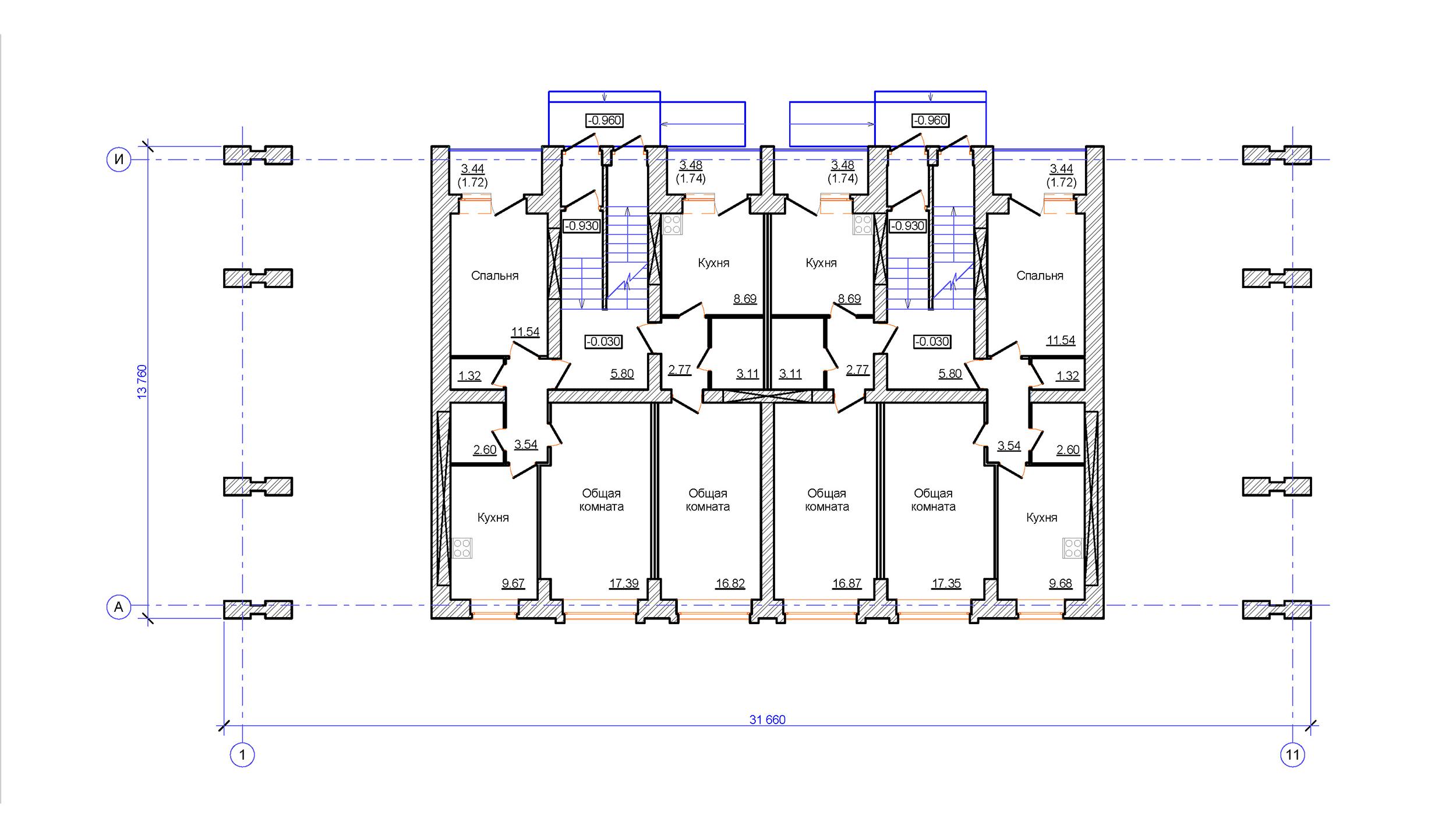 Проект 3-х этажного многоквартирного дома. План на отм. 0.000