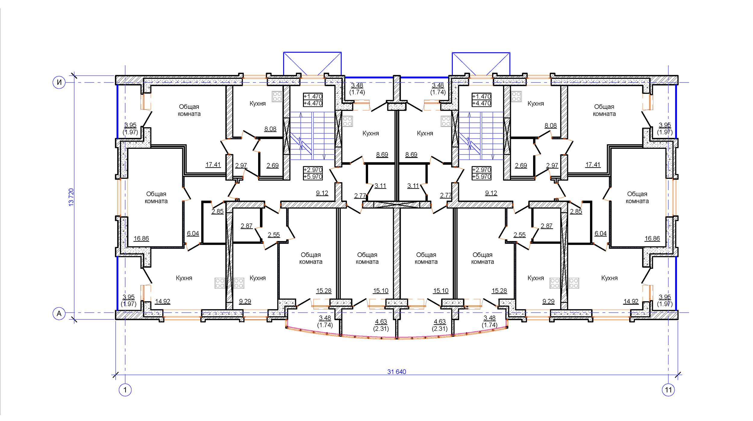 Проект 3-х этажного многоквартирного дома. План на отм. +3.000 и +6.000