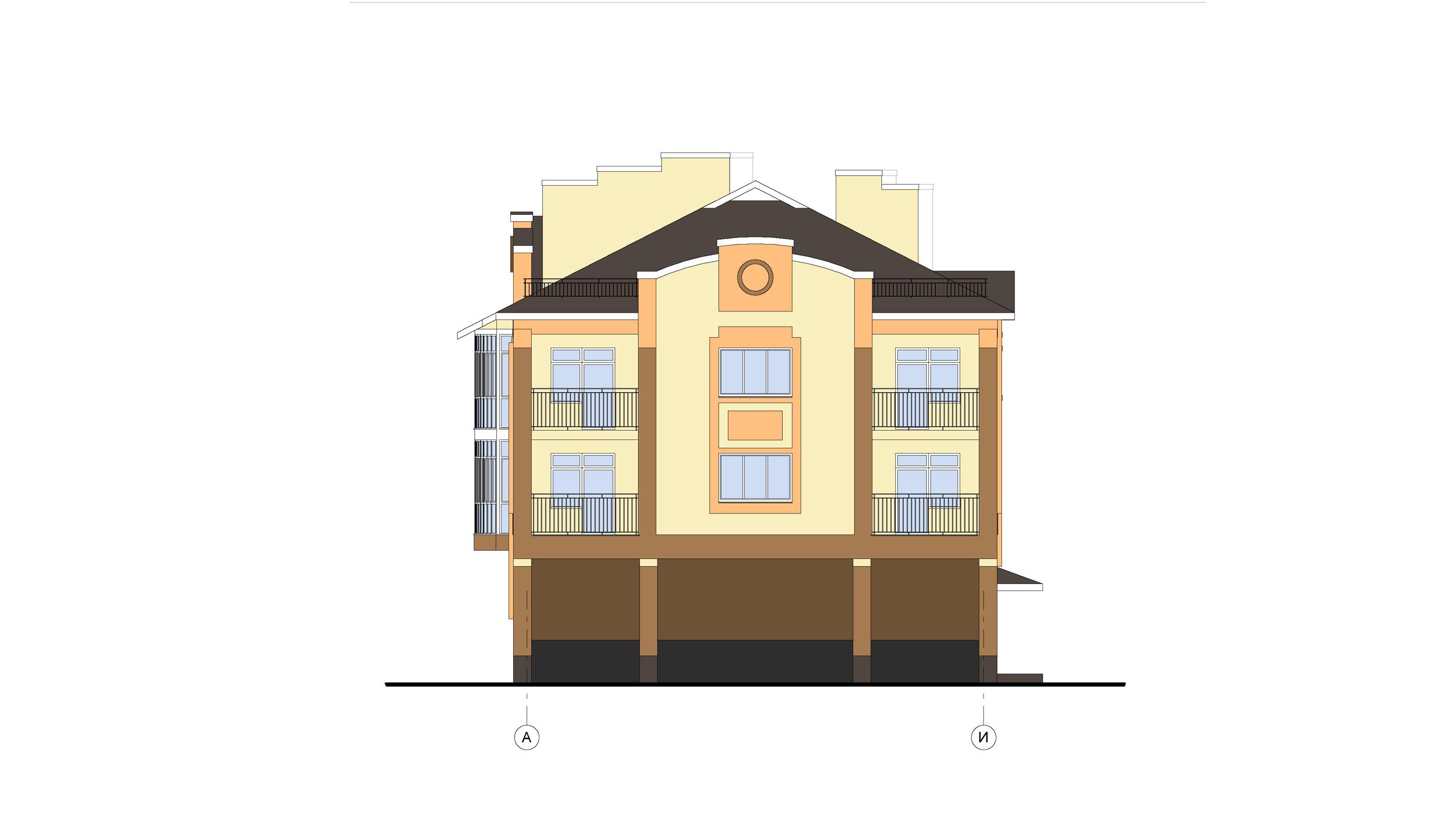 Проект 3-х этажного многоквартирного дома. Фасад в осях А-И