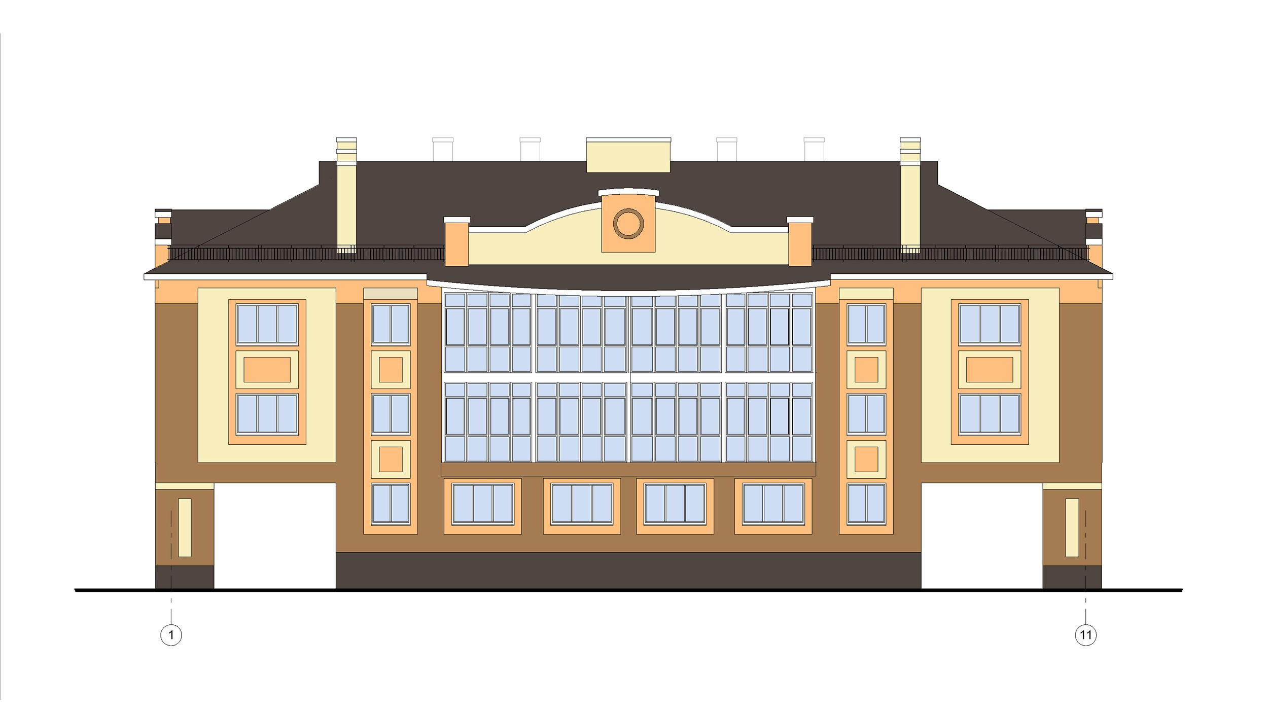 Проект 3-х этажного многоквартирного дома. Фасад в осях 1-11