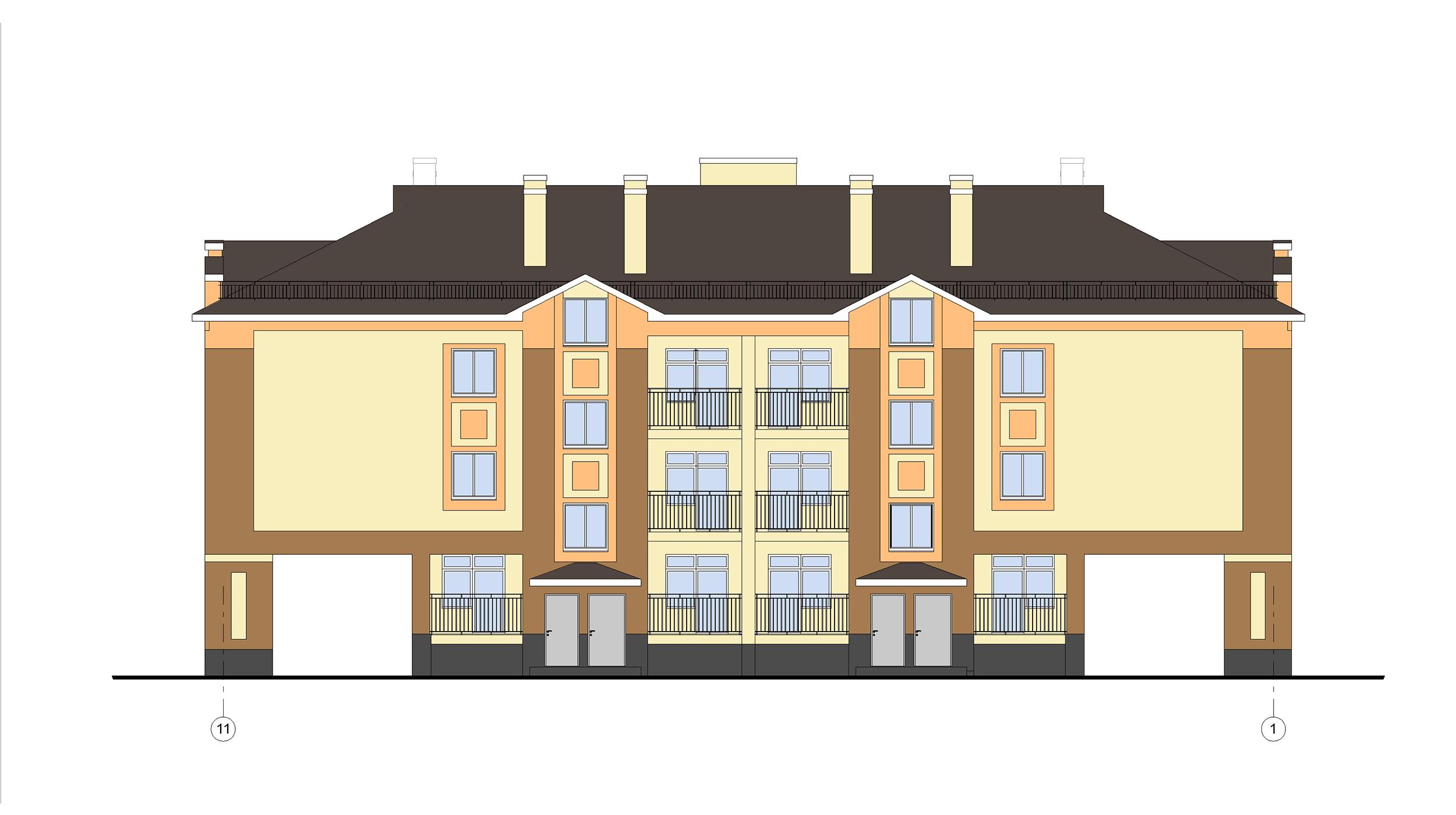 Проект 3-х этажного многоквартирного дома. Фасад в осях 11-1