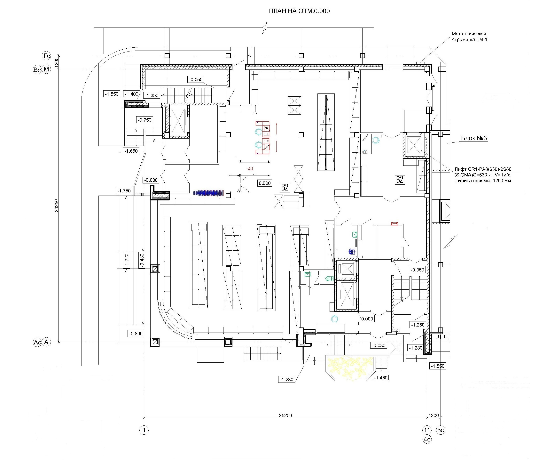 Проект логистического комплекса. План на отм. 0.000 (блок 2)