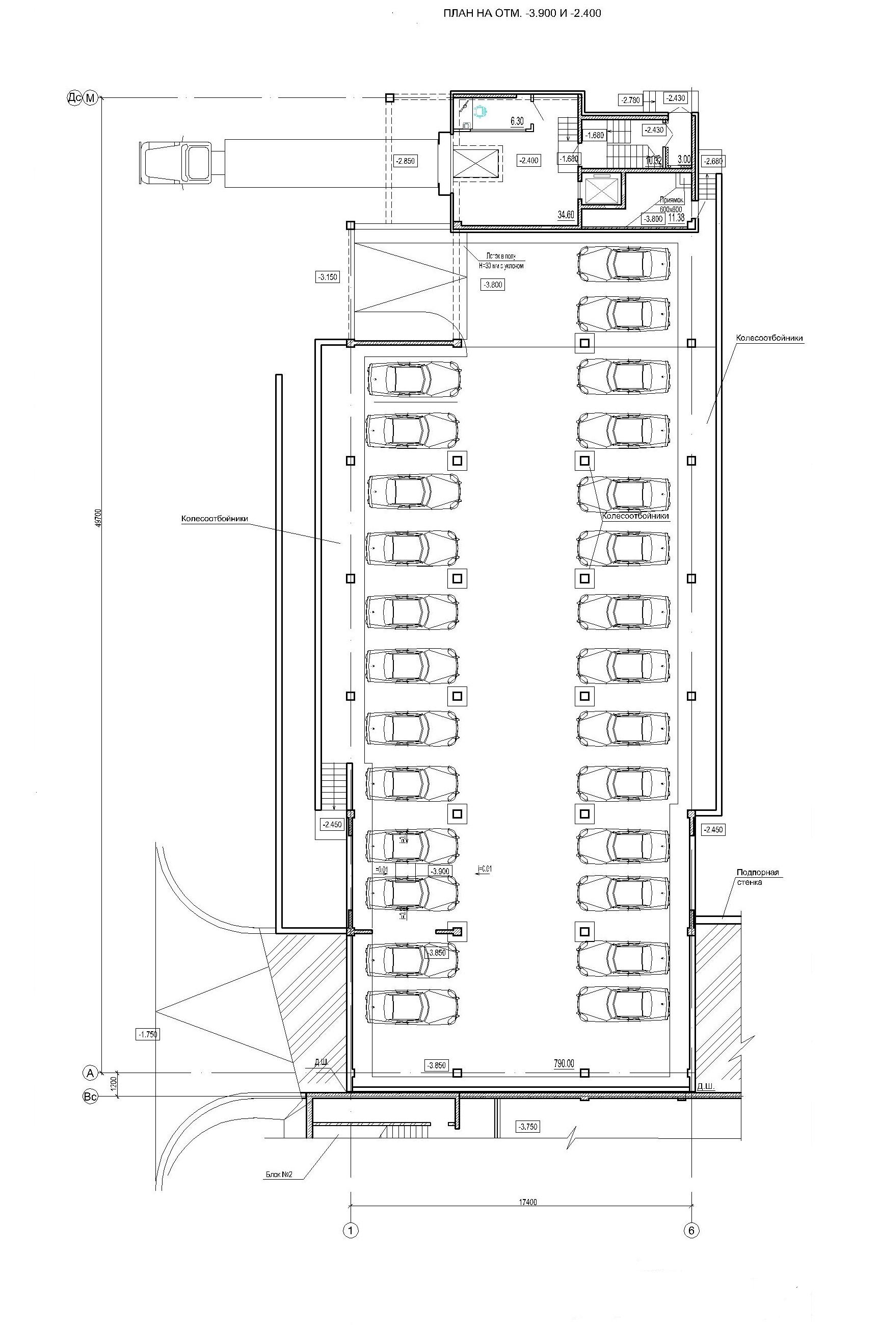 Проект логистического комплекса. План на отм.-3.900 (блок 1)