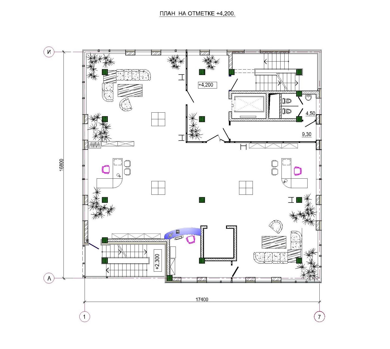 Проект административного здания. План на отм. +4.200