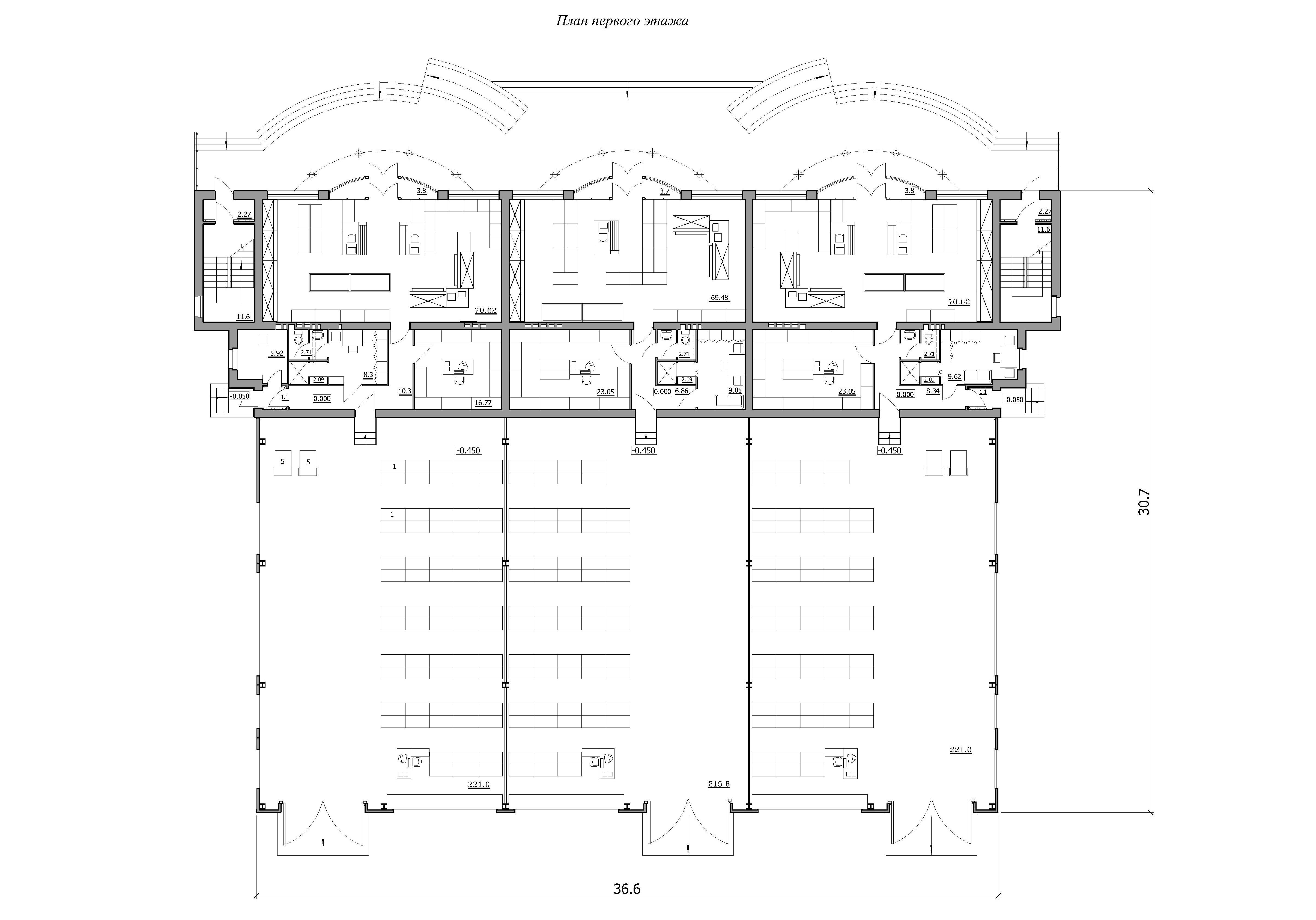 Проект базы оптово-розничной торговли. План первого этажа