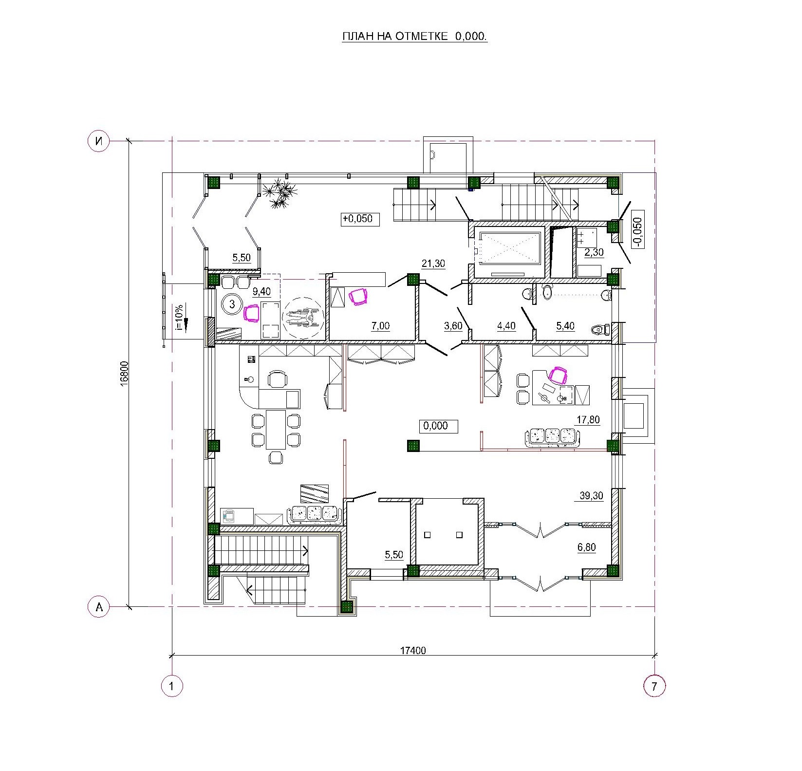 Проект административного здания. План на отм. 0.000