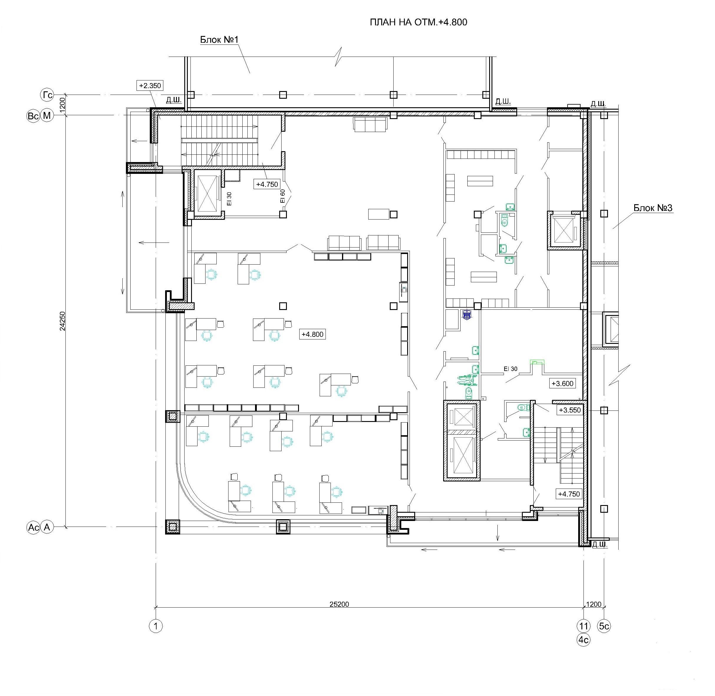 Проект логистического комплекса. План на отм. +4.800 (блок 2)